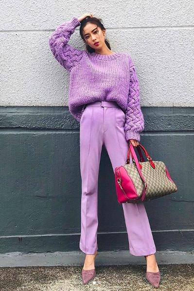 Clothing, Purple, Pink, Street fashion, Fashion, Jeans, Magenta, Footwear, Shoe, Outerwear,