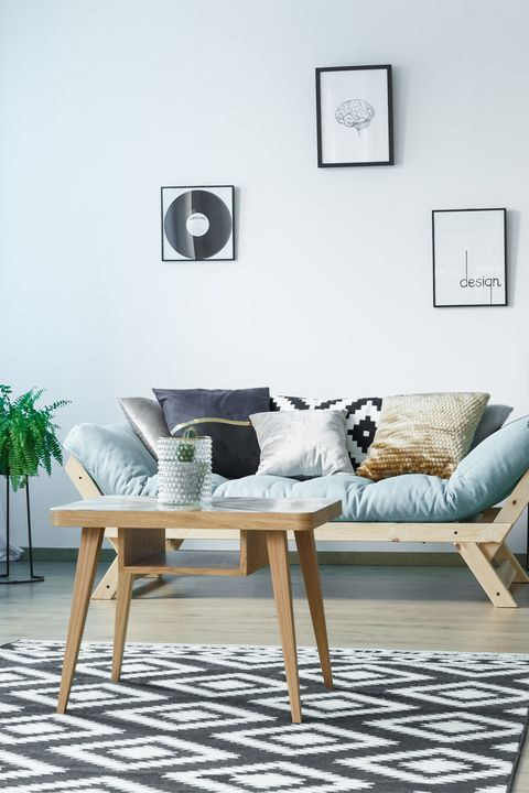 Furniture, Living room, Room, Coffee table, Interior design, Table, Floor, Wall, studio couch, Couch,