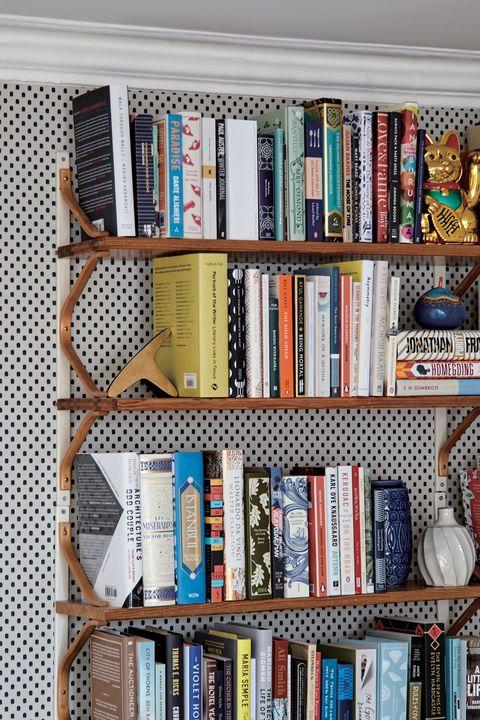 Shelving, Shelf, Bookcase, Furniture, Book, Wall, Room, Publication, Collection, Interior design,