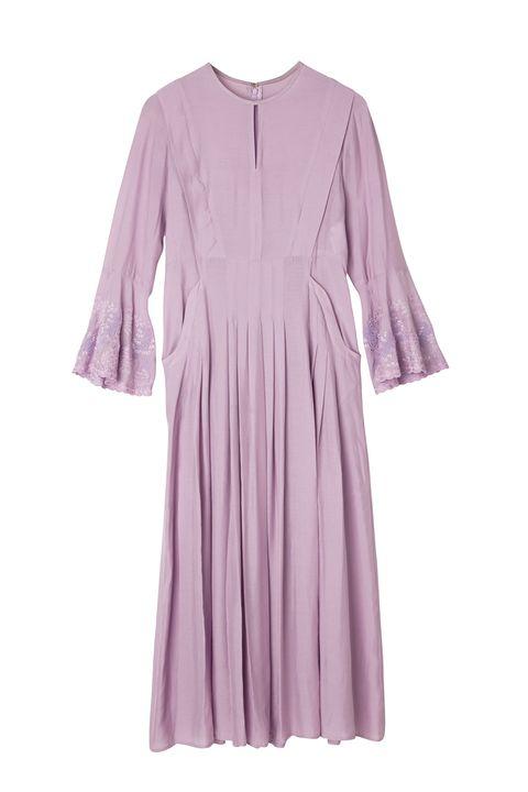 Clothing, Violet, Purple, Dress, Lavender, Pink, Lilac, Day dress, Sleeve, Robe,