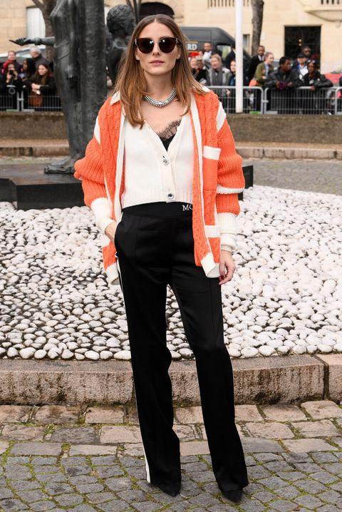 Clothing, White, Street fashion, Orange, Fashion, Snapshot, Jeans, Eyewear, Sunglasses, Shoulder,
