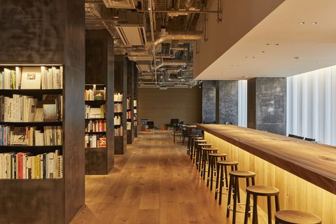 Building, Interior design, Architecture, Ceiling, Room, Wood, Shelf, Furniture, Shelving, Library,