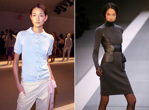 Fashion model, Fashion, Clothing, Runway, Fashion show, Dress, Fashion design, Neck, Waist, Haute couture,
