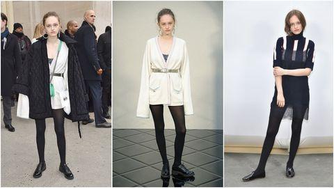 Clothing, Fashion, Footwear, Tights, Outerwear, Fashion model, Leggings, Leg, Knee, Formal wear,