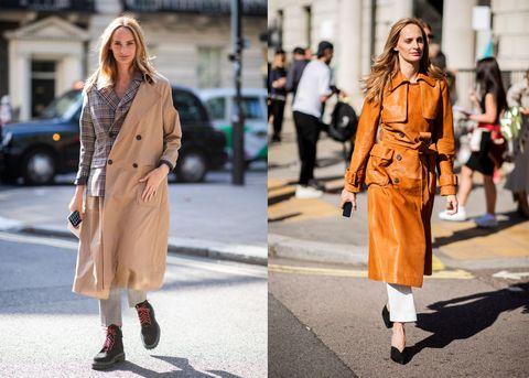 Clothing, Street fashion, Coat, Fashion, Trench coat, Overcoat, Fashion model, Orange, Footwear, Snapshot,