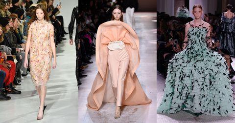 Fashion model, Fashion, Clothing, Haute couture, Runway, Fashion show, Dress, Shoulder, Fashion design, Costume design,