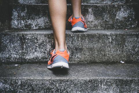 Human leg, White, Footwear, Orange, Leg, Red, Shoe, Ankle, Joint, Foot,