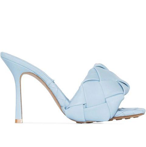 bottega veneta bv lido藍色編織皮革高根涼拖鞋