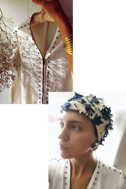 Textile, Collar, Headgear, Fashion, Headpiece, Hair accessory, Fashion design, Embellishment, Portrait photography, Day dress,