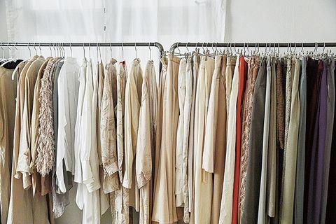 Textile, Clothes hanger, Collection, Beige, Fashion design, Silver, Closet,