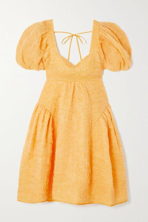 橙黃凸紋澎袖洋裝