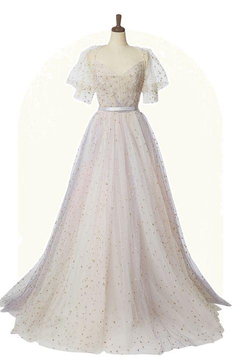 「ドレスモア」取り扱い、「オティリア・ブラローユ」のピンクとブルーのミックスカラーで、星屑のモチーフがちりばめられたドレス