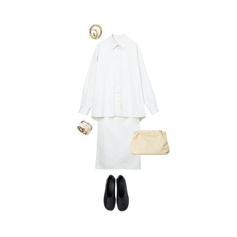 ザ・ロウのシャツ、スカート、バッグ、靴、シャルロット シェネのピアス、レポシのリング