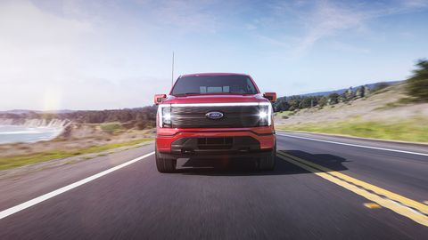 2022 ford f 150 lightning lariat pre production model with available features shown available starting spring 2022