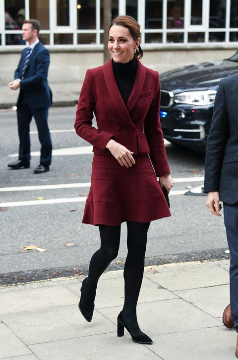 Clothing, Street fashion, Red, Fashion, Standing, Snapshot, Suit, Footwear, Maroon, Coat,