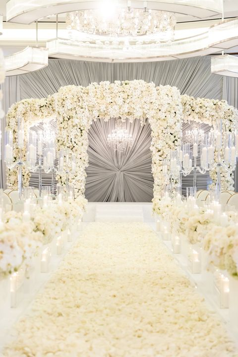 White, Photograph, Aisle, Arch, Architecture, Fashion, Function hall, Dress, Wedding reception, Ceiling,