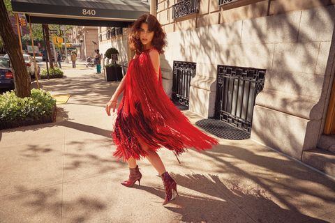 Red, Clothing, Dress, Fashion, Beauty, Snapshot, Shoulder, Footwear, Photography, Formal wear,