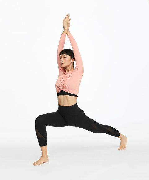 Physical fitness, Athletic dance move, Shoulder, Leg, Sportswear, Yoga, Joint, Arm, Standing, Human leg,
