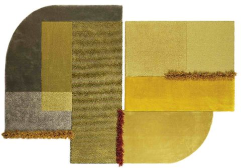 mustard rug with burgundy tufts, selce rug