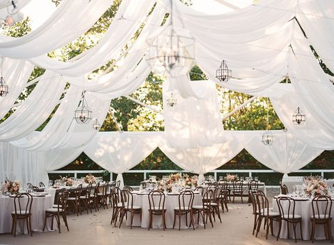 Decoration, Tent, Wedding banquet, Canopy, Function hall, Chiavari chair, Wedding reception, Ceiling, Chair, Furniture,