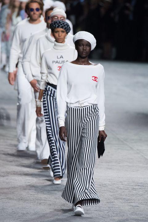 White, Fashion, Street fashion, Runway, Human, Fashion show, Fashion design, Black-and-white, Event, Fashion model,