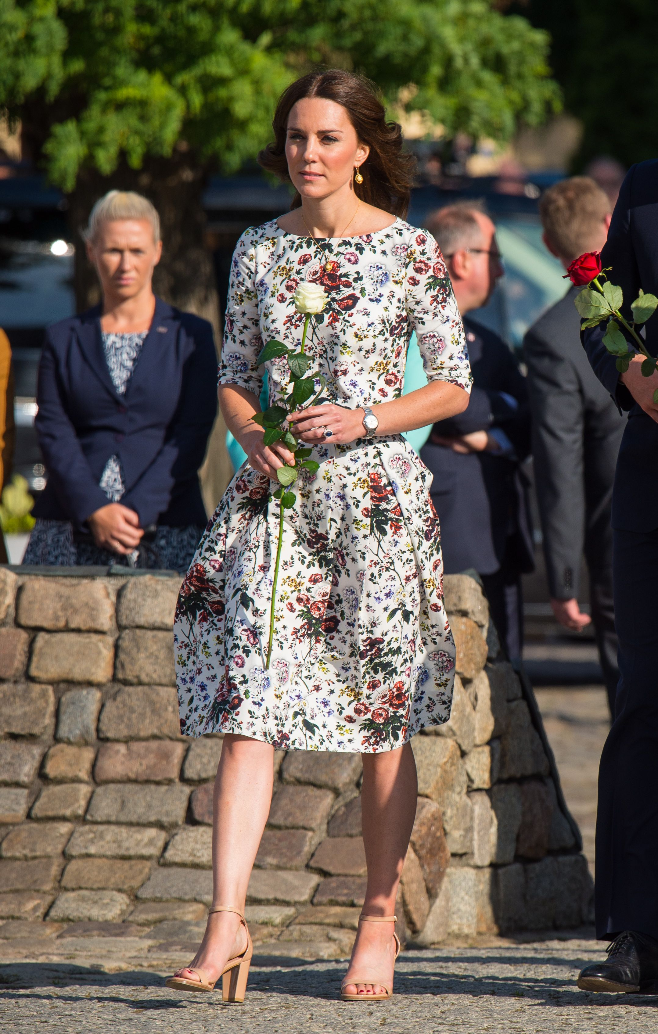 Shop Now Stuart Weitzman NearlyNude Ankle Strap Sandals, $398 For a more informal summer look, Duchess Kate wore these nude sandals from Stuart Weitzman during the royals' three-day tour of Poland and Germany in July 2017 .