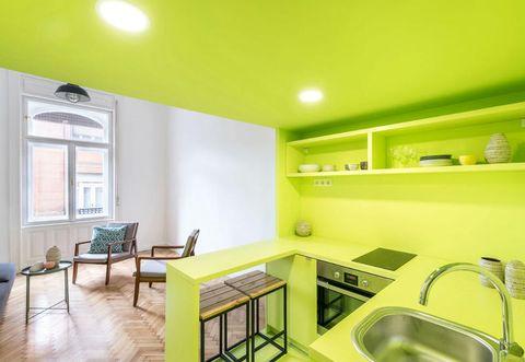 Green, Room, Interior design, Kitchen sink, Plumbing fixture, Property, Floor, Ceiling, Interior design, Flooring,