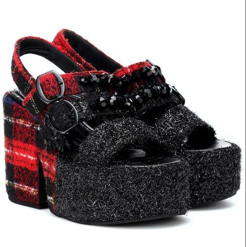 simone rocha tartan smart platform sandals heels printed checks