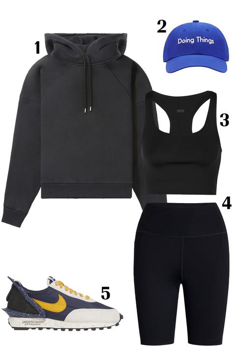 Clothing, Sportswear, Hood, Footwear, Outerwear, Jersey, Hoodie, Sleeve, Shoe, Shorts,
