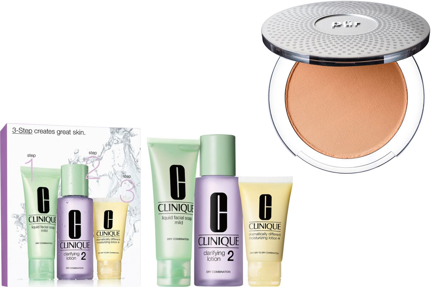Clinique 3-Step Skincare Set and PUR Mineral Powder Foundation