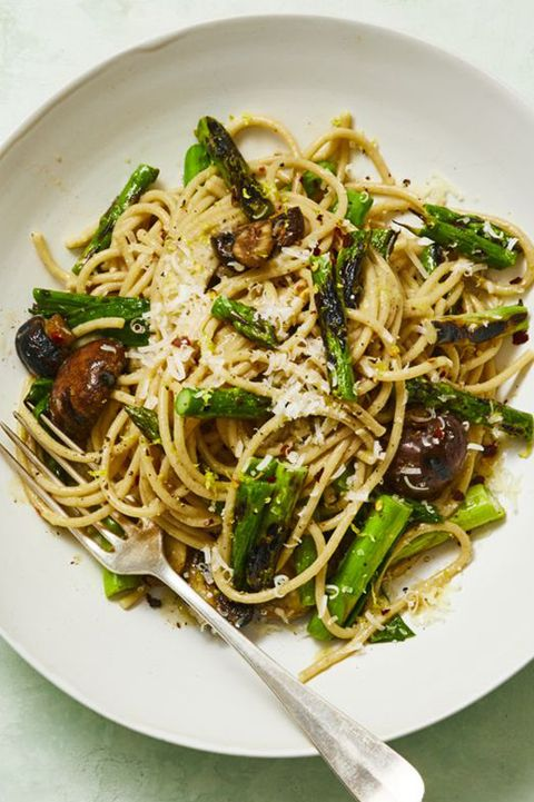 30 minute dinners whole wheat spaghetti with grilled asparagus and scallions