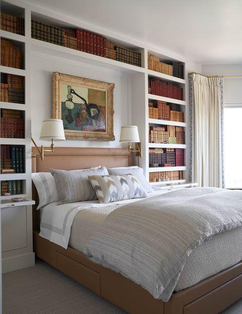 Bedroom, Bed, Furniture, Room, Shelf, Bed frame, Mattress, Interior design, Shelving, Bed sheet,