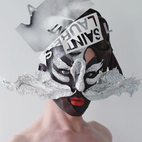 White, Head, Headpiece, Costume accessory, Illustration, Costume hat, Headgear, Mask, Hat, Fashion accessory,