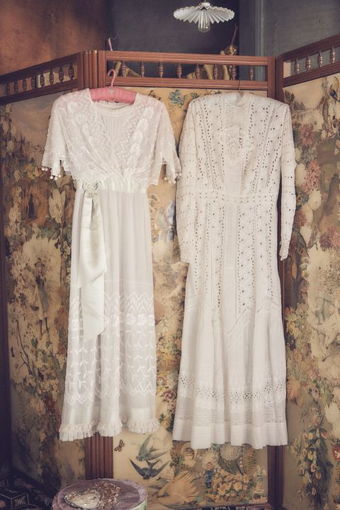 Clothing, White, Dress, Lace, Day dress, Clothes hanger, Textile, Beige, Sleeve, Pattern,
