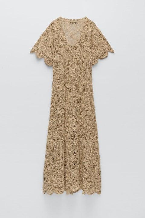 vestido de punto con abalorios zara