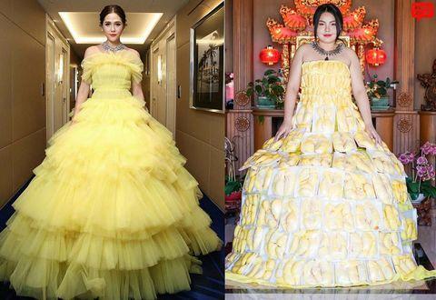 Gown, Dress, Clothing, Yellow, Shoulder, Wedding dress, Fashion, Strapless dress, Ruffle, Formal wear,