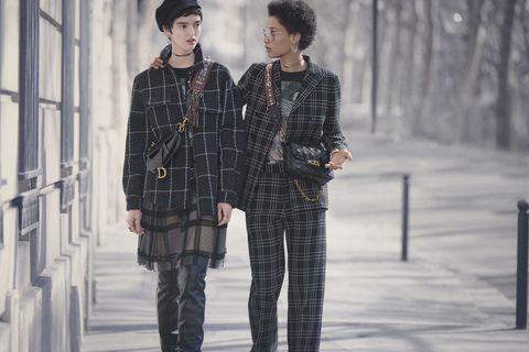 Fashion, Clothing, Tartan, Plaid, Street fashion, Pattern, Design, Textile, Fashion model, Winter,