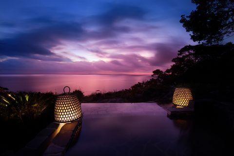 Sky, Nature, Water, Blue, Cloud, Night, Purple, Light, Horizon, Tree,