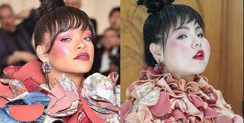 Hair, Kimono, Hairstyle, Pink, Skin, Fashion, Cheek, Costume, Child, Peach,
