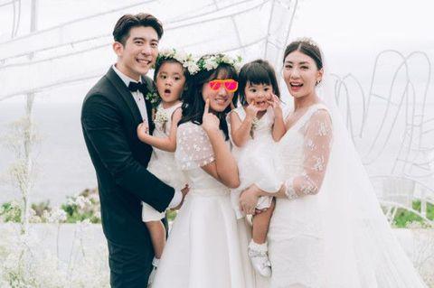 Photograph, Bride, White, Wedding dress, Ceremony, Facial expression, People, Dress, Bridal clothing, Wedding,