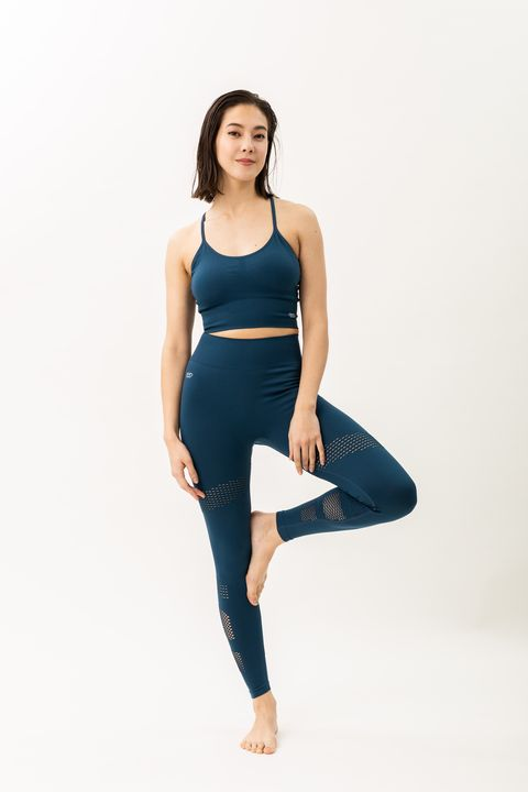 Clothing, Blue, Waist, Shoulder, Turquoise, Leggings, Cobalt blue, Sportswear, Standing, Leg,
