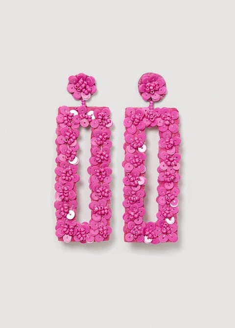 Pink, Earrings, Magenta, Fashion accessory, Jewellery, Font, Rectangle,