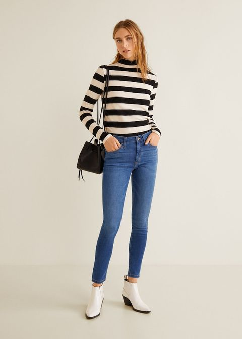 Clothing, White, Jeans, Shoulder, Denim, Blue, Waist, Neck, Standing, Joint,