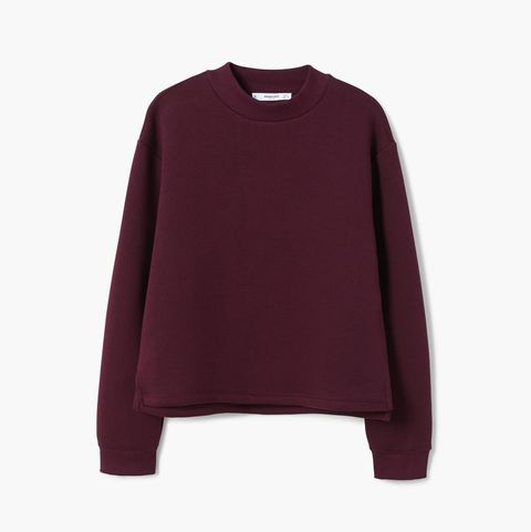 Clothing, Violet, Sleeve, Maroon, Purple, Outerwear, Magenta, Sweater, Crop top, T-shirt,