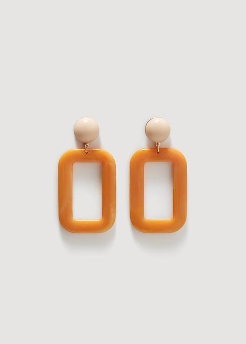 Orange, Fashion accessory, Jewellery, Earrings, Rectangle, Pendant, Square,