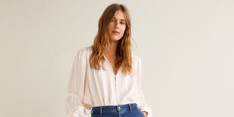 Clothing, Denim, Jeans, White, Shoulder, Waist, Blue, Standing, Pocket, Leg,