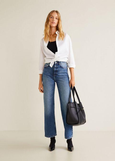 Clothing, Jeans, Denim, Shoulder, Blue, Electric blue, Outerwear, Footwear, Waist, Fashion,