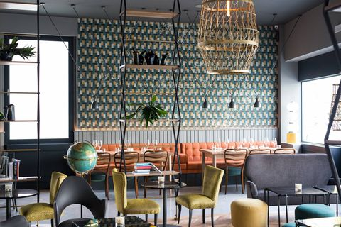 Restaurant, Interior design, Room, Building, Coffeehouse, Wall, Architecture, Furniture, Table, Café,