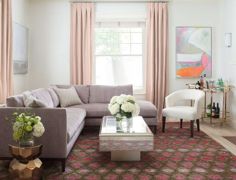 Living room, Room, Furniture, Interior design, Property, Curtain, Floor, Coffee table, Table, Couch,