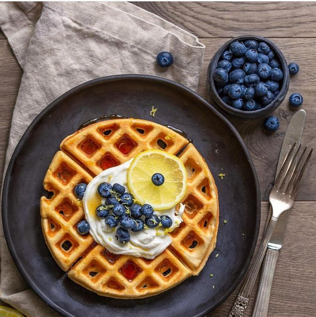 Dish, Food, Waffle, Breakfast, Cuisine, Belgian waffle, Ingredient, Berry, Blueberry, Meal,